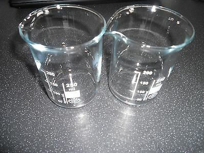 2x250ml Chemistry Laboratory Beaker Borosilicate Measure Glass Beakers
