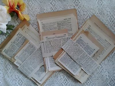 Vintage paper pages from old French German Latin Spanish English dictionaries