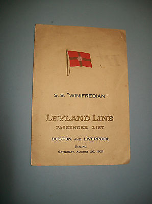 "Leyland Line S.S. ""Winifredian"" Passenger List. Boston & Liverpool 1921 - Signed"
