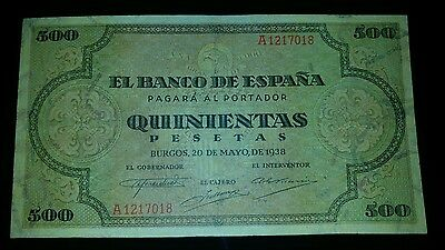 billete 500 pesetas 1938 Serie A Spain Banknote
