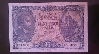 billete 25 pesetas 1940 Spain Banknote