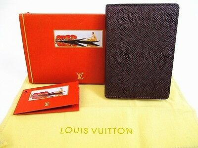 Authentic LOUIS VUITTON Taiga Leather Bordeaux Pass Card Case #5071