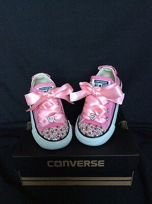 Crystal Custom Converse Pink Bling Baby Toddler UK Infant Size 5
