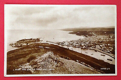 Isle of Man - Peel and Castle from Hill, RP PC Publ. Valentine, PM Unclear