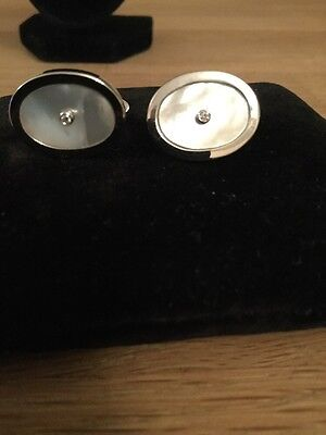 Aspinal Of London Diamond Sterling Silver Oval Cufflinks Mother Of Pearl