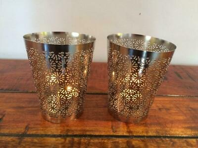 Pair Of Candle Holders Tea Lights Nickel Plated Finish 2 Sizes Tl1 Wedding Table