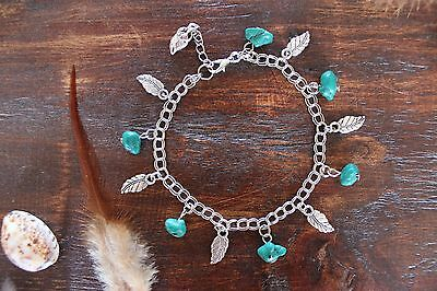 Beautiful Handmade Silver Plated Chain Turquoise Bead & Silver Leaf Charm Anklet