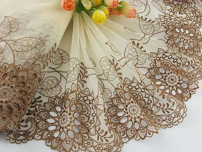 """7.5""""*1yard delicate brown embroidered flower tulle lace trim DIY 0373"""