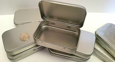 SURVIVAL KIT TIN HINGED LID Small Empty Metal Storage Pastel tin FOOD SAFE