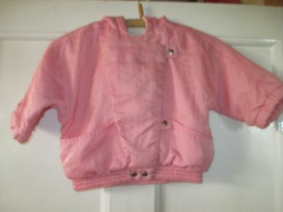 Girls vintage pink nylon  jacket  lined hooded   Age  approx 12 months