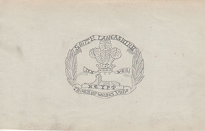Original WWI Trench Art Drawing BRITISH SOUTH LANCASHIRE REGIMENT By  Soldier