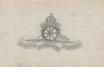 Original WWI Trench Art Drawing BRITISH ROYAL FIELD ARTILLERY By Wounded Soldier