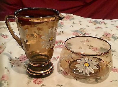 Bohemia Glass Jug&suer Bowl With 24Crt Gold & Flower Design