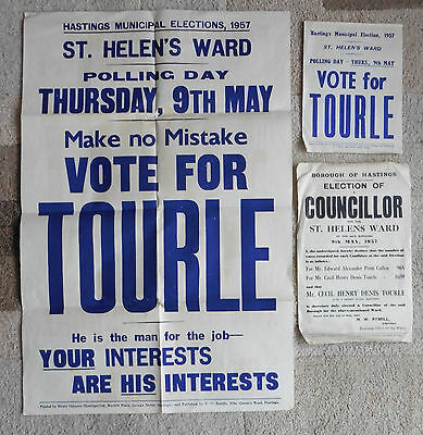 Hastings, St. Helen's Ward, Municipal Council Election Posters 1957, Tourle.