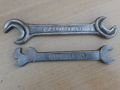 VINTAGE, BAMLETT No.1 AND NO 2, WHITWORTH  SPANNERS, FOR OLD STATIONARY ENGINE,