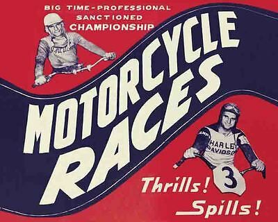 Vintage Event  POSTER  Rare   1950's   MOTORCYCLE RACING    Harley Davidson