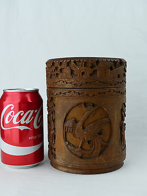 Early 20th Century Chinese carved bamboo cylindrical box and cover.
