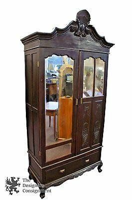 Antique Chinese Carved Rosewood Bedroom Armoire Wardrobe Hanging Bar Cupboard