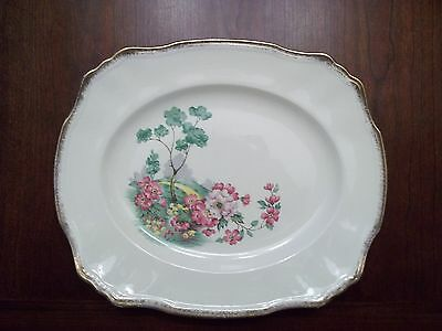 """2  English Meadow Platters 11"""" & 14""""   Alfred Meakin 18Ct. Gold Rim  Excellent"""