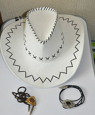 genuine Leather white texan 5.755 cow girl line dance hat + 2 Lace Ties