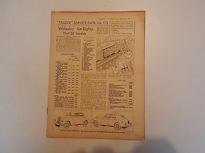 WOLSELEY Six-Eighty 6/80 1949-50  Motor Trader Service Data
