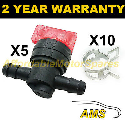 5X Fuel Diesel Petrol Shut/cut Off Valve Briggs & Stratton Immobiliser + Clips