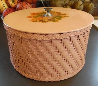 Lovely Vintage Pink Princess Wicker Sewing Basket  Box Cottage Chic