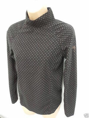 Roxy Black Micro Ski Fleece Spots Base Layer Top Small UK 8 EU 36 NEW