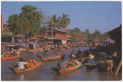Postcard - Floating Market (Wat-Sye)  Near Bankok Thailand Posted 1968 Stamped
