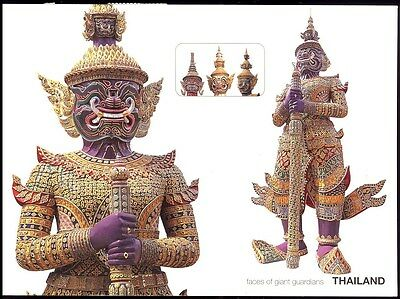 Postcard - Faces Of Giant Guardians Thailand Giant Demonds -Wat Phra Keo Posted