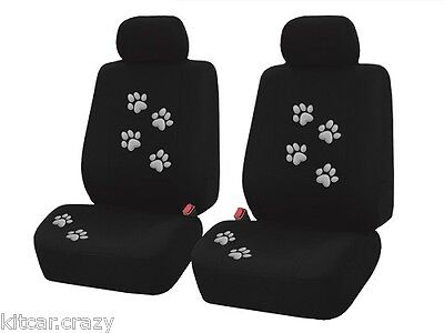 Summit Universal Car Seat Covers , 9 Piece, Black With Grey Paw Print