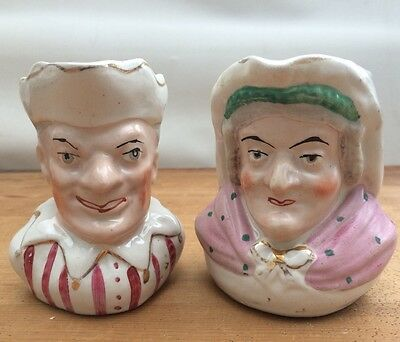 Pair Antique 19th Century Punch & Judy Novelty Staffordshire  pottery Toby Jug