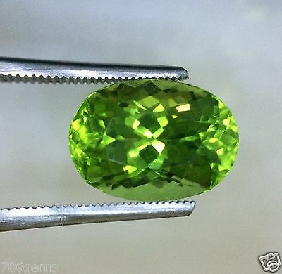 Great Spark ! VVS 7.40Ct, Oval shape , Top Green  Color Peridot from Pakistan