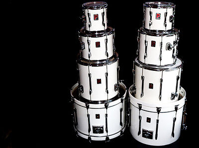 Vintage Premier Drum Kit 1993.  Classic white 'Moon' double bass drum