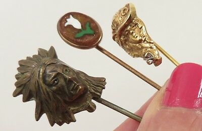 3 PC LOT OF ANTIQUE STICKPINS ONE 10K GOLDSTONE INLAY figural LADY FACE  CHIEF