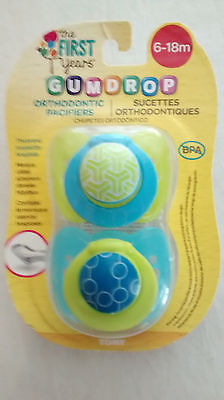 The First Years Gumdrop Orthodontic Pacifier - 6-18 Months (BLUE & GREEN - BOY)