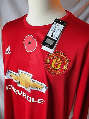 Genuine Manchester United 2016/17 Home L/S Poppy Shirt Mens XXL  - Reject holes