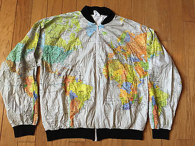ORIGINAL VINTAGE 1980's KURT COBAIN WORD MAP PAPER JACKET GRUNGE SIZE 42 44!