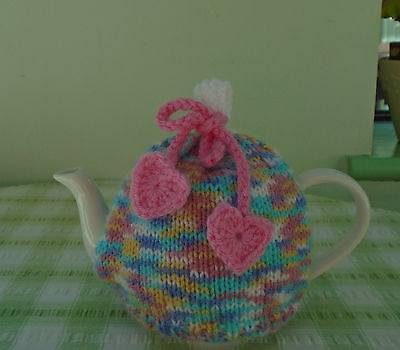 Hand Knitted Hearts Tea Cosy For A Small 1 - 2 Cup Teapot