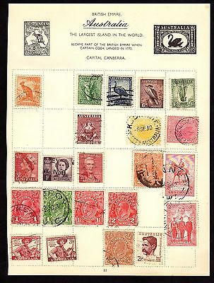 Stamps ~ AUSTRALIA & States ~ Hinged on Album Page (STAMPS BOTH SIDES)