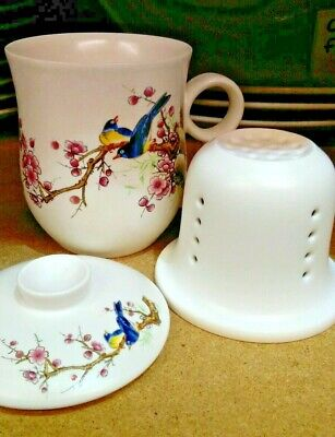 Chinese Porcelain Lidded Tea Mug Cup with Lid and Infuser Strainer Magpie Birds