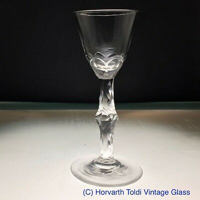 Georgian Rose Cut Bowl Facet Knopped Wine Glass 1780