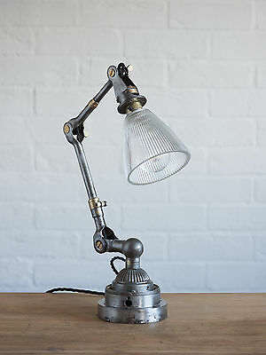 Dugdill Lamp with Prismatic Glass Shade -  - vintage industrial loft antique