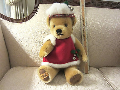 Merrythought Limited Edition Holiday Bear  Signed On Foot & Tag # 129 Of 1000