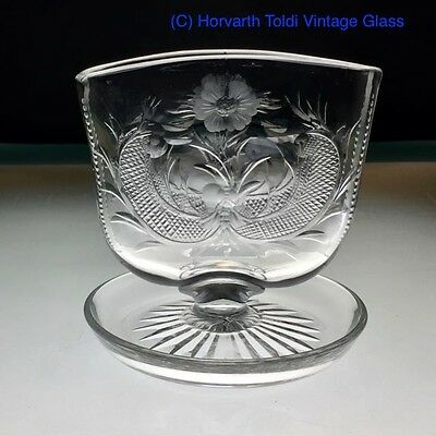 Art Deco Webb Corbett Intaglio Flower Menu Glass Holder 1930