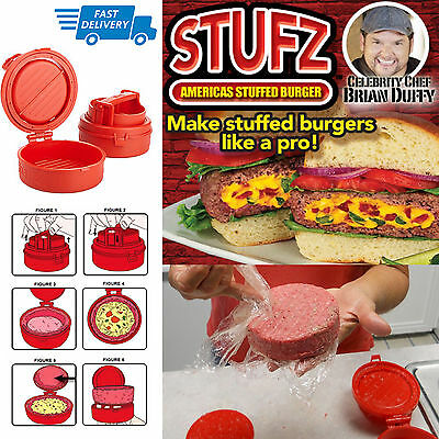 UK STUFZ Stuffed Burger Press Patty Maker Hamburger Grill BBQ Juicy As Seen OnTV