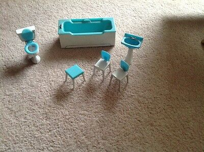 Vintage 1960s Dolls House furniture - bath, sink, toilet, stool and 2 chairs