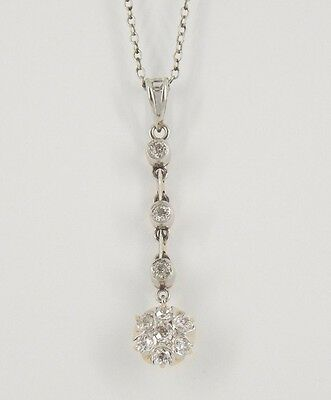 "Antique Art Deco Platinum & 14k Gold Rose Cut Diamond Pendant 15.25"" Chain"