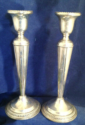 Pair Tall Arrowsmith Sterling Silver Candlesticks candleholders  Weighted 9 7/8""