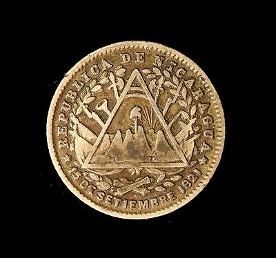 Nicaragua Silver 10 Centavos 1887 Toned Very Fine